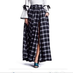 TOV PLAID MAXI SKIRT WITH FREE BELT